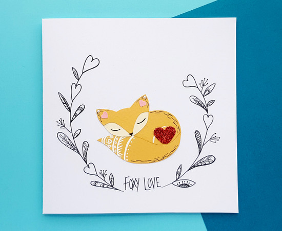 Romantic Anniversary Card Handmade Fox