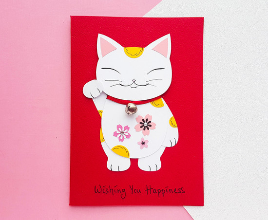 Maneki Neko card handmade lucky cat