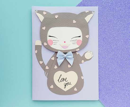 Personalised KEIKO Kitty Costume Birthday Card