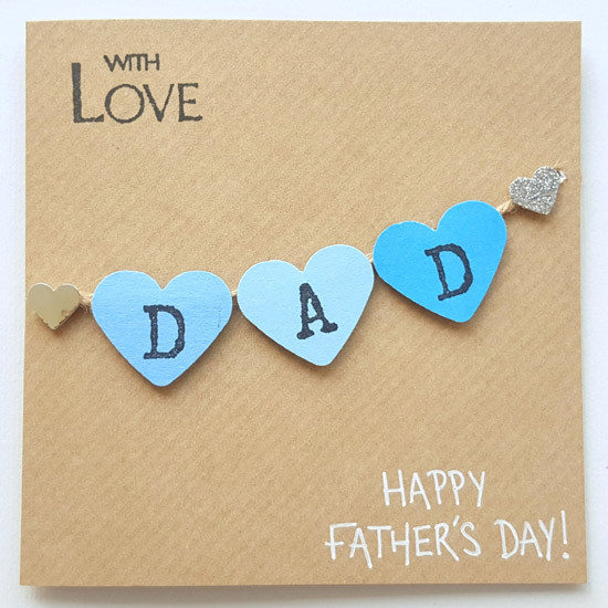DAD Hearts Bunting Father's Day Card