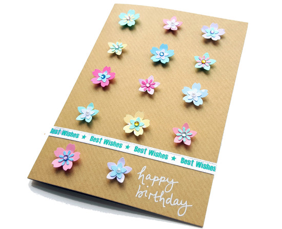 Handmade birthday card pretty flowers