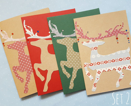 reindeer handmade christmas card packs