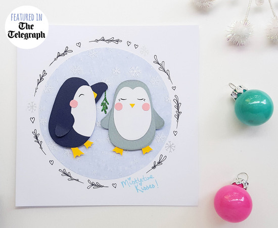 Romantic Christmas card handmade penguins