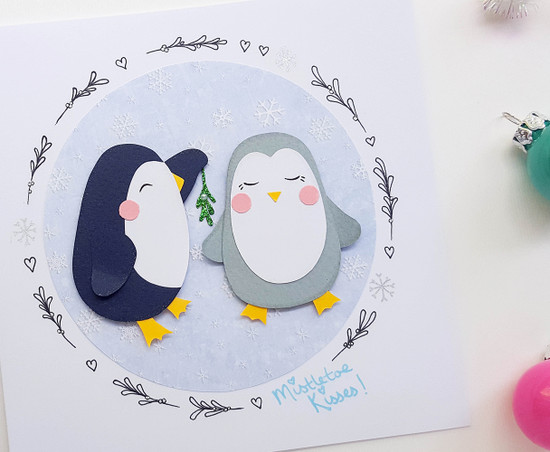 handmade romantic Christmas card cute penguins