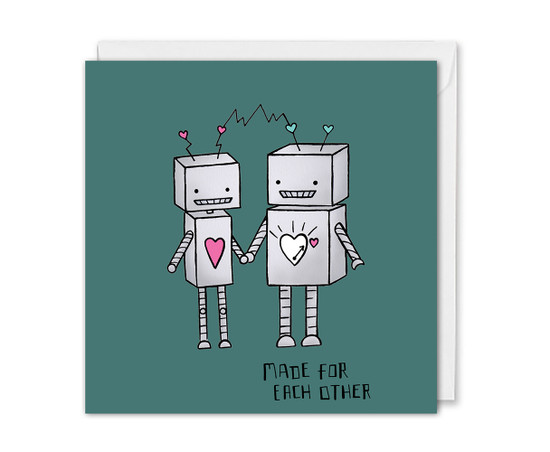 Cute Valentine's Card Robots