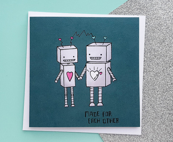 Punny Valentines Card Cute Robots