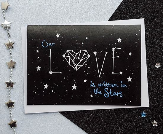 Handmade space anniversary card - love stars constellation