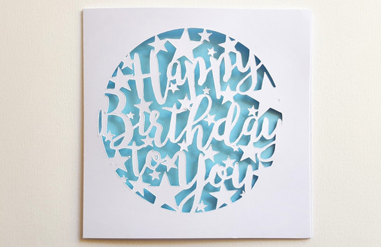 Papercut Blue HAPPY BIRTHDAY TO YOU Stars Card