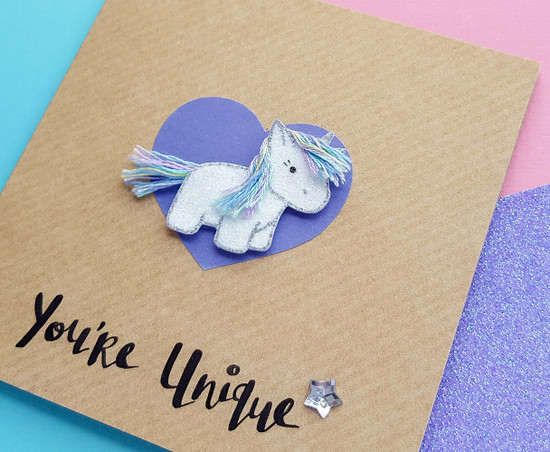 Handmade glitter unicorn card
