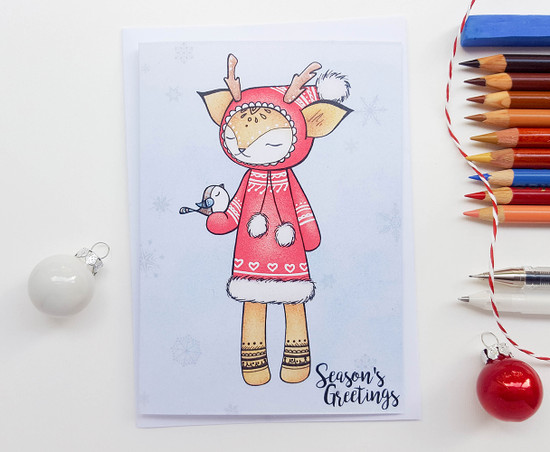 Hand Drawn Christmas Card Deer Drawing