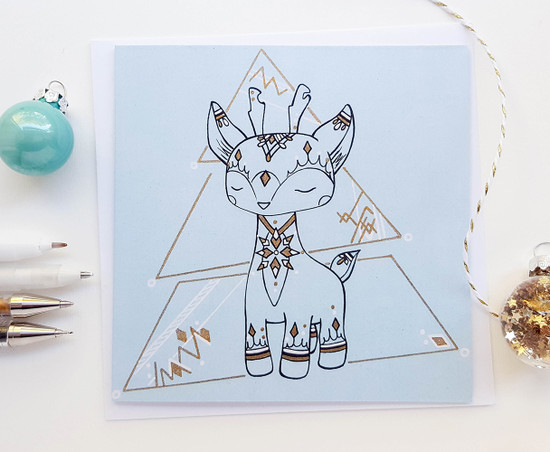 Christmas Deer Card Hand Drawn