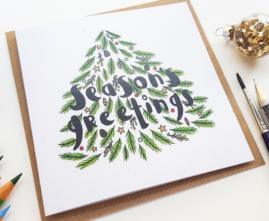 Hand drawn Christmas card seasons greetings