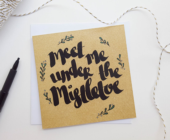 Under The Mistletoe Romantic Christmas Card