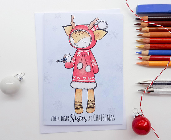 Sister Christmas Card Cute Deer Drawing