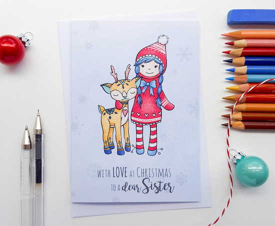 Sister Christmas Card Cute Deer