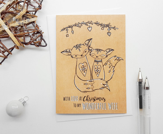 Wife Christmas Card Romantic Hand Drawn Foxes