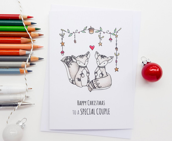 Squirrels Christmas Card for a SPECIAL COUPLE