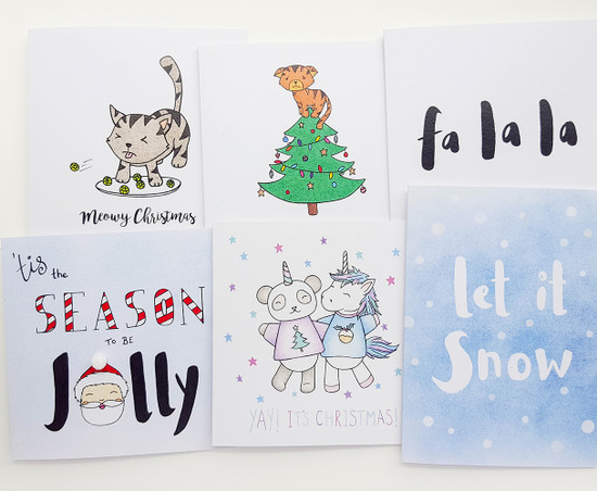 fun christmas card packs handmade