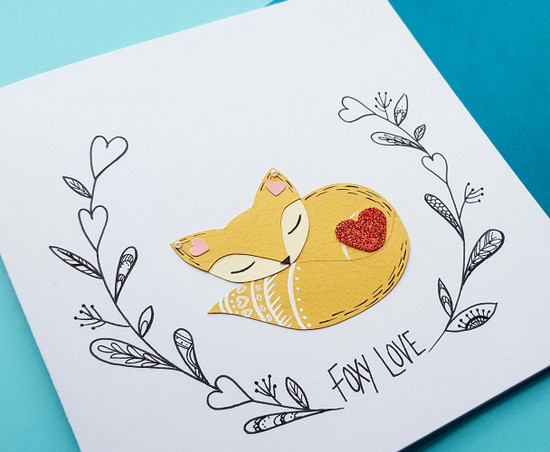 romantic handmade birthday card cute fox