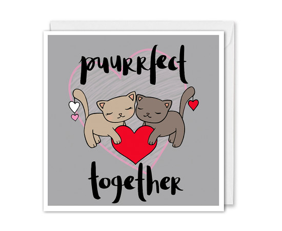 Cute Anniversary Card Cats Couple