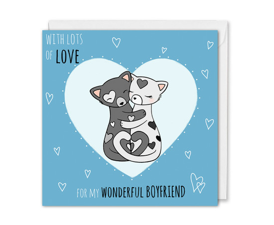 Boyfriend Anniversary Card Cute Cats