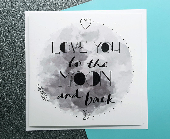 Moon and Back Love Card