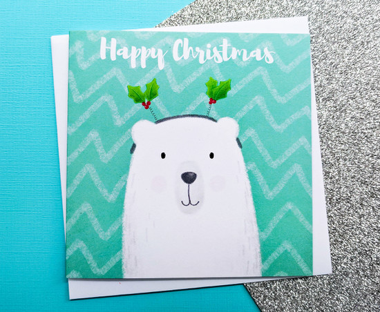 Cute Polar Bear Christmas Card Hand Drawn