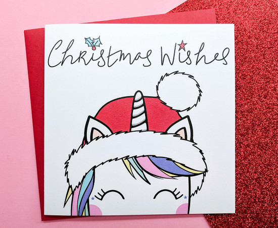 Cute Unicorn Christmas Card Koko