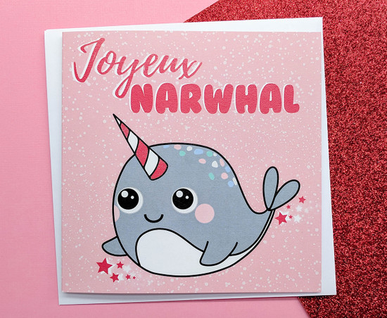 Joyeux Narwhal Christmas Card Kawaii