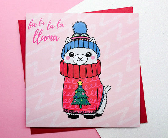 Cute Llama Christmas Card Hand Drawn