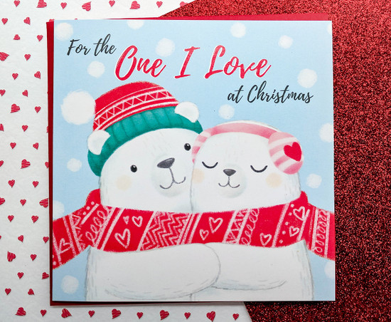 Romantic Christmas Card Cute Polar Bears