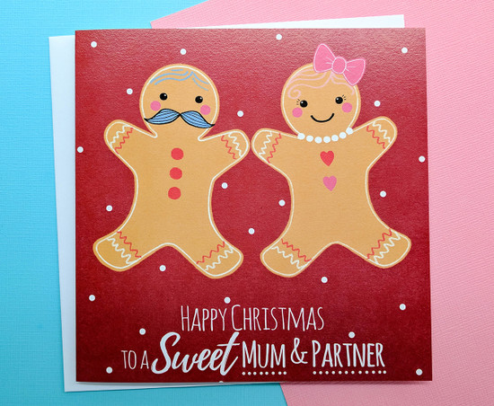 Christmas Card for Mum and Partner Gingerbread Couple