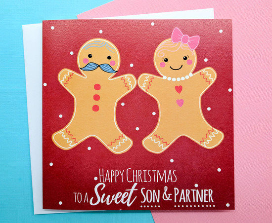 Son and Partner Christmas Card for Couple
