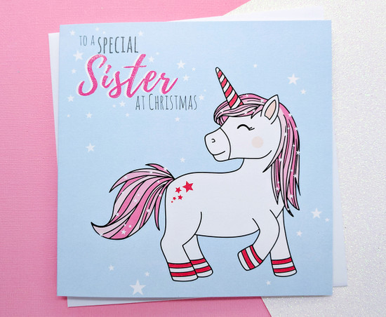 Sister Christmas Card Glitter Unicorn