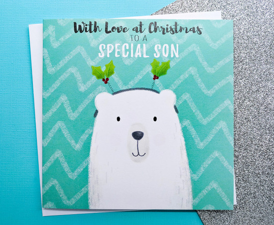 Son Christmas Card Cute Polar Bear