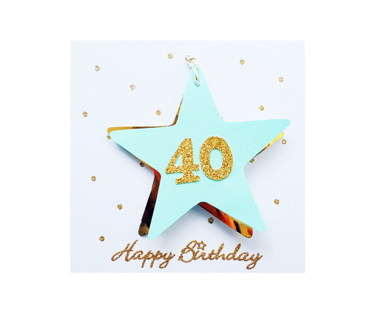 Handmade 40th Birthday Star Card