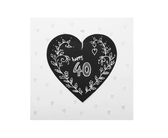 Hand Drawn 40th Birthday Card Chalkboard Heart