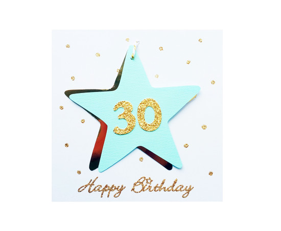 Handmade 30th Birthday Star Card