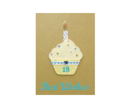 Yellow Cupcake Handmade 18th Birthday Card