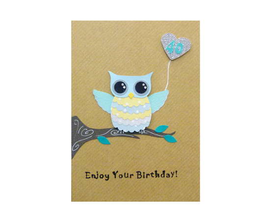 Handmade 40th Birthday Card Cute Owl