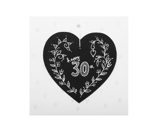 Handmade 30th birthday card chalkboard heart