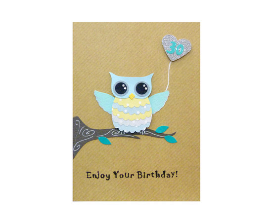 Handmade 30th Birthday Card Cute Owl