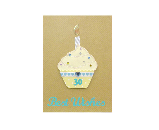 Yellow Cupcake Handmade 30th Birthday Card