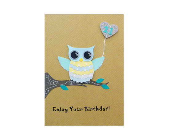 Handmade 21st Birthday Card Cute Owl
