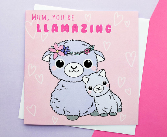 Amazing Mum Mother's Day Card Cute Llamas