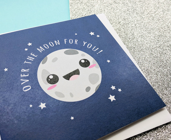Cute Congratulations Card Over The Moon
