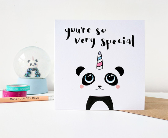 Cute Panda Birthday Card Unicorn