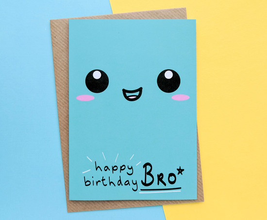 Brother Birthday Card Kawaii Smiley Face