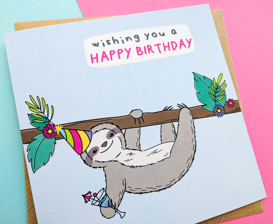 Sloth Birthday Card Kawaii