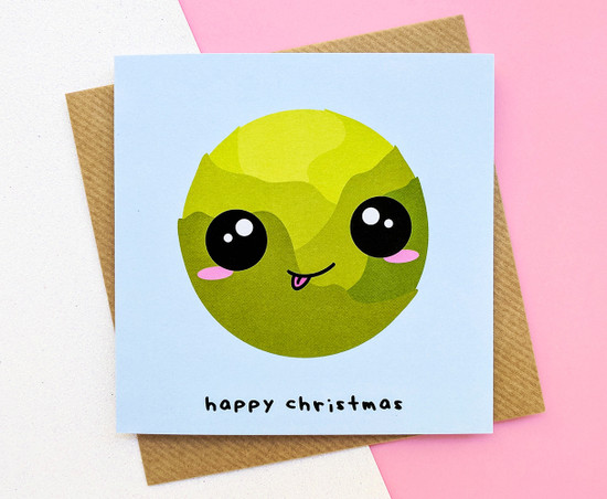 Brussel Sprout Christmas Card Kawaii
